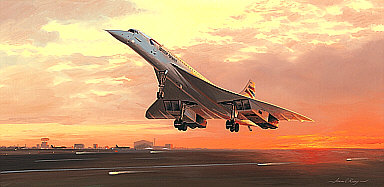 Flying into History, Concorde aviation art print by Adrian Rigby