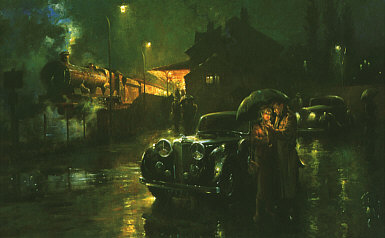 A Brief Encounter, Jaguar MK V art print by Alan Fearnley
