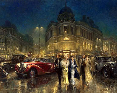 After the Show, Lagonda LG6 Rapide and M45 art print by Alan Fearnley
