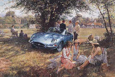 E-Type-Anniversary, Jaguar E-Type automobile art by Alan Fearnley