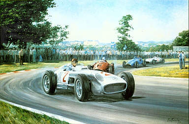 Fangio, Mercedes W196 F1 motorsport art print by Alan Fearnley