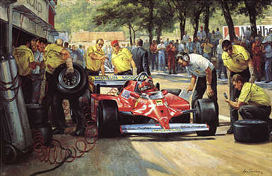 Villeneuve Pit Stop, GP of Monaco Ferrari 126CK F1 art print by Alan Fearnley