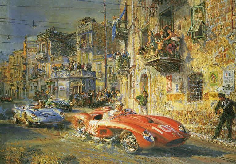 Automobile Art De La Maria Alfredo Targa Florio 1958