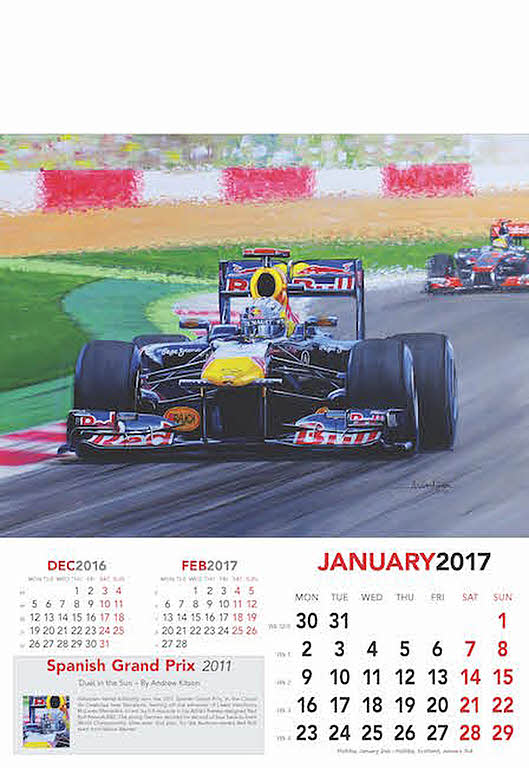 automobile art kitson andrew grand prix formula 1 art calendar 2017. Black Bedroom Furniture Sets. Home Design Ideas