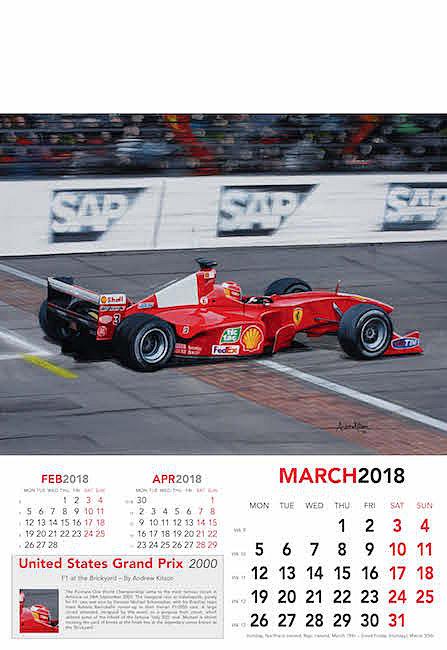 Automobile Art Kitson Andrew Formula 1 Art Calendar