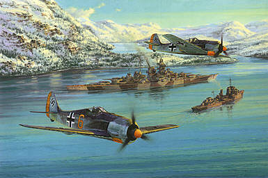 Eismeer Patrol, FW-190 and Battleship Tirpitz art print by Anthony Saunders