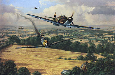 High Summer, Spitfire and Me-109 aviation art print by Anthony Saunders
