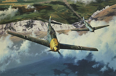 Homeward Bound, Messerschmitt Bf 109 aviation art print by Anthony Saunders
