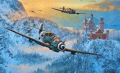 Up Amongst Eagles - Messerschmitt Bf109 Aviation Art by Anthony Saunders