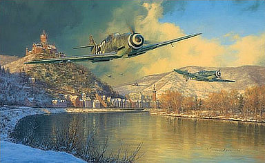 Where Storm Clouds Gather - Messerschmitt Bf-109 Aviation Art by Anthony Saunders