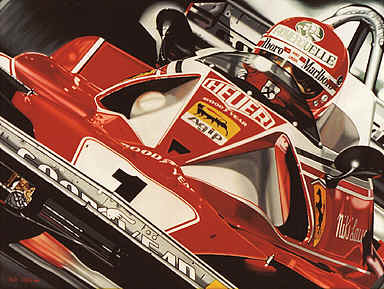 Niki Lauda Ferrari Formula One art print by Colin Carter