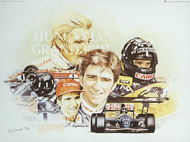 Damon Hill and Graham Hill, F1 motorsport art print by Craig Warwick