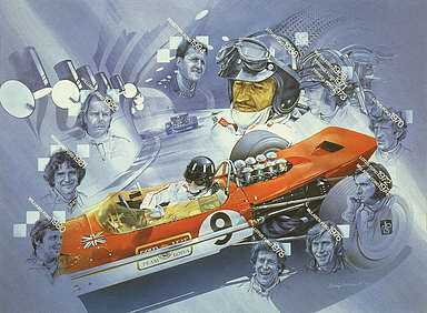 Ford Formula One Champions 1968 - 1994, motorsport art print by Craig Warwick