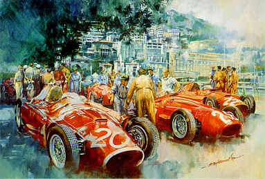 Maserati Team, Pit Lane Monaco Grand Prix 1956 art print by Craig Warwick
