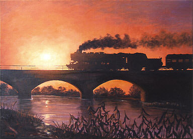 Sonnenuntergang I, Steam Locomotive Series 52 Reko Railway Art by Daniela Koenig