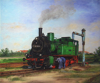 Vor der Fahrt, Steam Locomotive 89 1004 Railway Art by Daniela Koenig