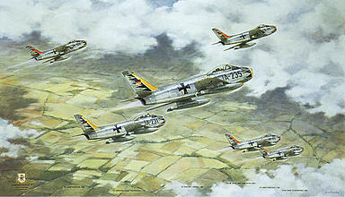 JG-71 Richthofen, Canadair CL-13B Sabre aviation art print by Friedl Wuelfing