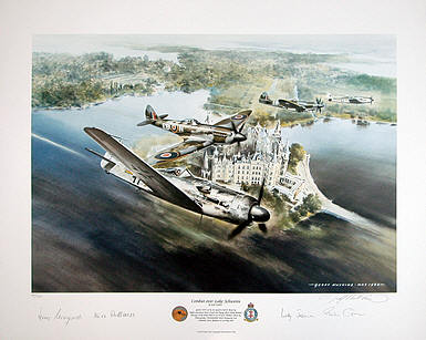 Combat over Lake Schwerin,  FW-190D-9 aviation art by Geoff-Nutkins