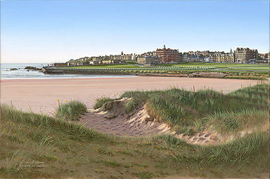 St Andrews West Sands at Dawn, Golf Art print by Graeme Baxter