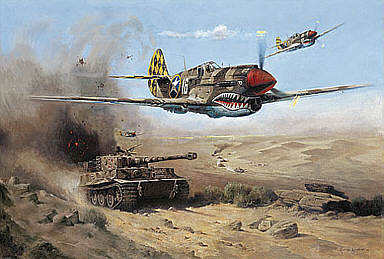 Desert Sharks, Curtiss P-40 aviation art print by Heinz Krebs