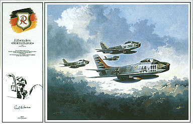 Decendants of the Red Baron, F-86 JG71 aviation art print by Heinz Krebs