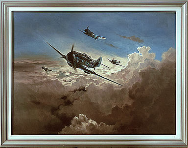Horrido - Messerschmitt Bf-109 Aviation Art Original Painting by Heinz Krebs