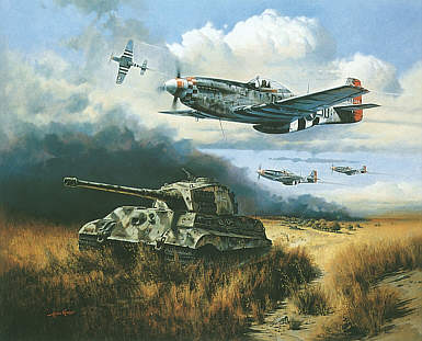 Normandy Tiger Hunt, P-51 Mustang and King Tiger military art print by Heinz Krebs