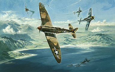 One Heck of a Deflection Shot, Spitfire Bob Hoover aviation art print by Heinz Krebs