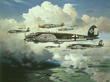 Out for Trouble, Heinkel He-111 and Me-109 aviation art print by Heinz Krebs