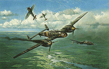 Struck by a Thunderbolt, Me-110 Wasp-Squadron aviation art print by Heinz Krebs