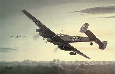 Night Ghost of St Trond, Messerschmitt Bf 110-G4 aviation art print by Iain Wyllie
