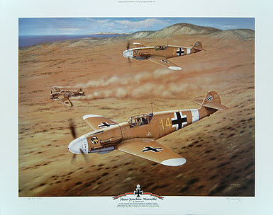 Hans Joachim Marseille Bf 109F 2Z trop - Aviation art by Jerry Crandall