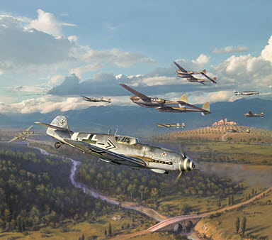 Steinhoff's Charge, Bf 109 G-6 and P-38 Lightning aviation art by Jim Laurier