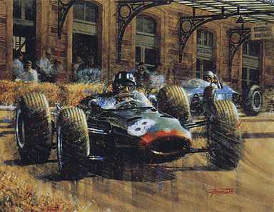 Double Home Victory, Graham Hill BRM F1 motorsport art print by Juan Carlos Ferrigno