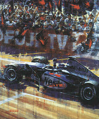 Mika Hakkinen World Champion, Suzuka 1998 F1 motorsport art print by Juan Carlos Ferrigno