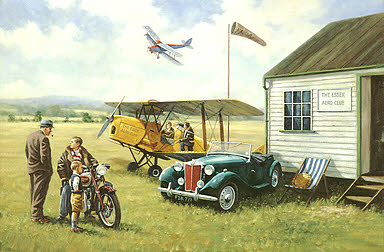 Aero Club - Tiger Moth, MG TD and Triumph 5T art print by Kevin Walsh