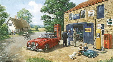 Best Endeavour, Jaguar MK II automobile art by Kevin Walsh