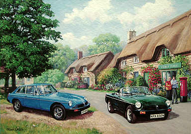 MG Rubber, MGB and MGB GT automobile art print by Kevin Walsh