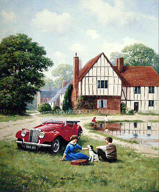 TF for Two, MG TF automobile art print by Kevin Walsh