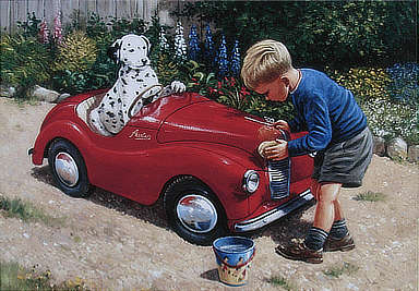 Washing the Car - An Austin J40 Pedal Car - Automobile Art by Kevin Walsh