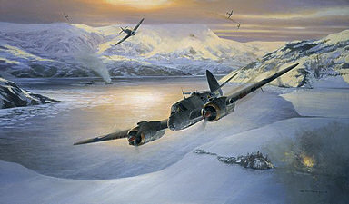 Bristol Beaufighter and FW-190 aviation art print by Mark Postlethwaite