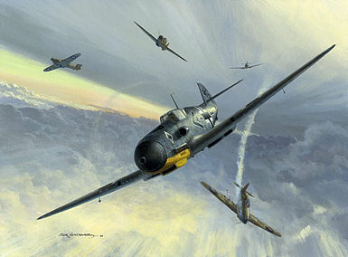 Combat over Malta, Me-109F over Malta aviation art print by Mark Postlethwaite