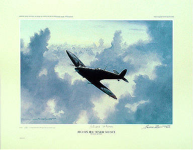 High in the Sunlit Silence - Spitfire aviation art by Michael-Rondot