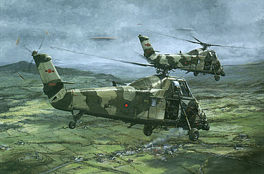 Wessex over South Armagh, Helicopter RAF aviation art print by Michael Rondot