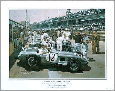 1955-British-Grand-Prix-Aintree - Mercedes Motorsport Art by Michael Turner