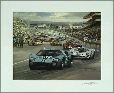 1967 Le Mans Start - Motorsport art Michael-Turner - Ford GT40 Mk.IIB in lead