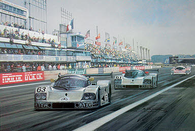 1989 Le Mans, Sauber-Mercedes motorsport art print by Michael Turner