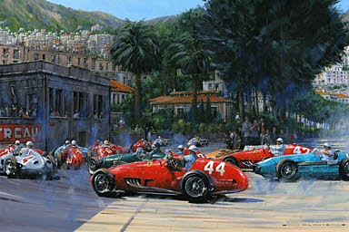 A Good Day for Maurice - Monaco Grand Prix 1955 - Motorsport Art by Nicholas Watts