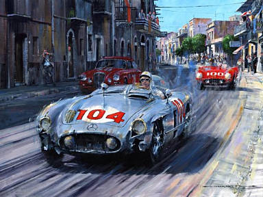 Battered but Defiant - Mercedes 300 SLR Mille Miglia 1955, Motorsport Kunst von Nicholas Watts