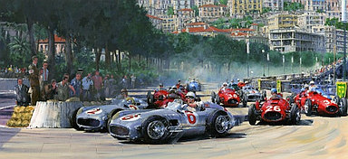 First Corner at Monaco 1955 - Fangio and Moss with Mercedes-Benz W196 - Motorsport Art by Nicholas Watts